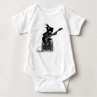 Goat playing an electric guitar baby bodysuit