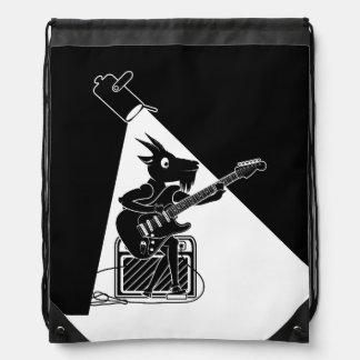 Goat playing an electric guitar drawstring bag