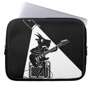 Goat playing an electric guitar laptop sleeve