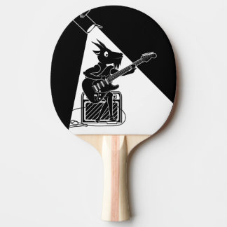 Goat playing an electric guitar ping pong paddle