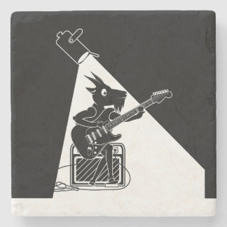 Goat playing an electric guitar stone coaster