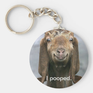 Goat pooping basic round button keychain