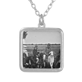 Goat Riders of the past Silver Plated Necklace