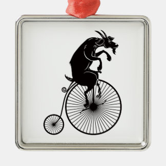 Goat Riding a Bike Metal Ornament