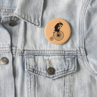 Goat Riding a Penny Farthing Bike 2 Inch Round Button