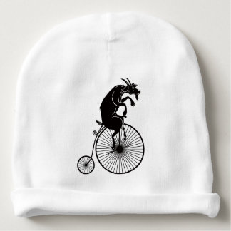Goat Riding a Penny Farthing Bike Baby Beanie