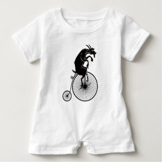 Goat Riding a Penny Farthing Bike Baby Romper