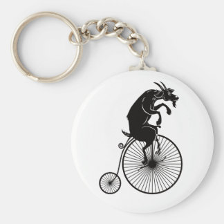 Goat Riding a Penny Farthing Bike Keychain