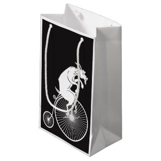 Goat Riding a Penny Farthing Bike Small Gift Bag