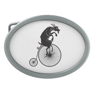 Goat Riding a Vintage Penny Farthing Bike Oval Belt Buckle