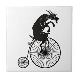 Goat Riding a Vintage Penny Farthing Bike Tile
