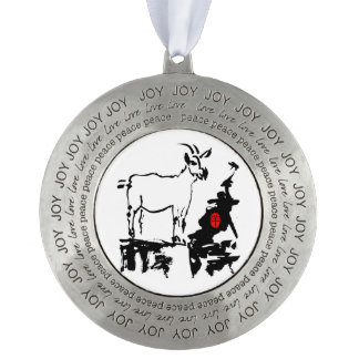 Goat rocks - 2015 Chinese New Year of The Goat - Pewter Ornament