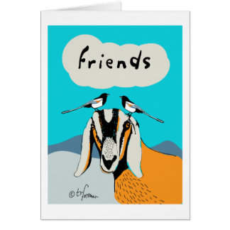 Goat with magpie friends. card