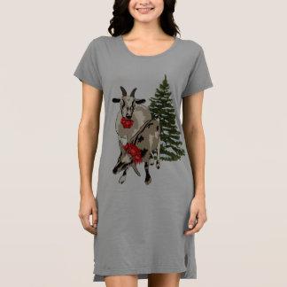 Goats and Christmas Tree Sleepshirt Shirt Dress