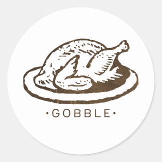 Gobble Funny Thanksgiving Turkey Classic Round Sticker