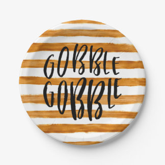 Gobble Gobble Faux Gold Stripe - Paper Plate