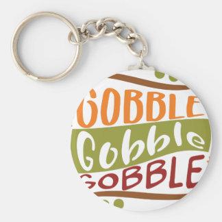 Gobble Gobble Gobble Thanksgiving Design Keychain