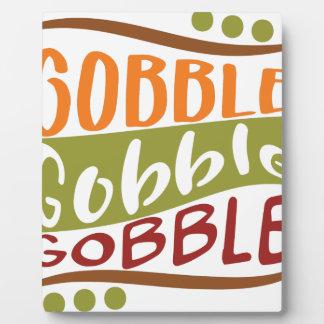 Gobble Gobble Gobble Thanksgiving Design Plaque