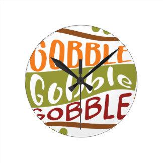 Gobble Gobble Gobble Thanksgiving Design Round Clock