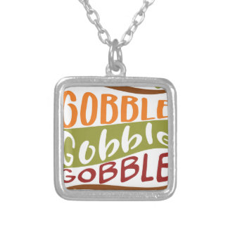 Gobble Gobble Gobble Thanksgiving Design Silver Plated Necklace