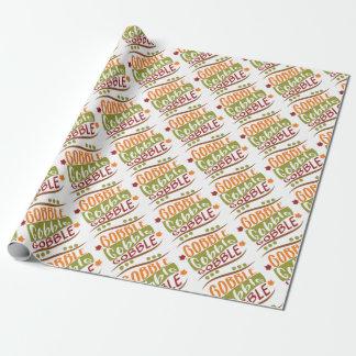 Gobble Gobble Gobble Thanksgiving Design Wrapping Paper