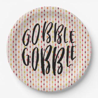 Gobble Gobble Multi Oval Dots - Paper plate