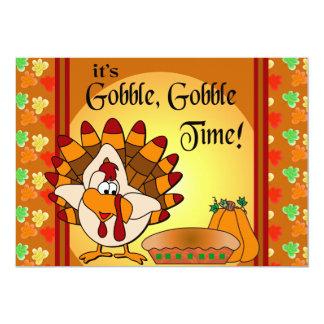 Gobble, Gobble Thanksgiving Turkey Dinner Card