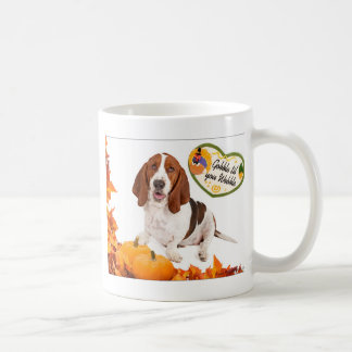 Gobble til you Wobble Thanksgiving Basset Coffee Mug