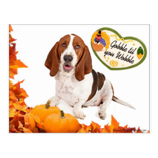 Gobble til you Wobble Thanksgiving Basset Postcard
