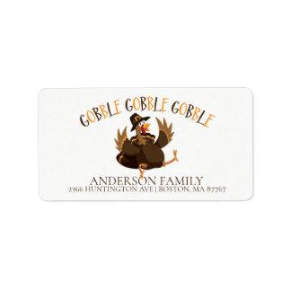Gobble Turkey Thanksgiving Address Label