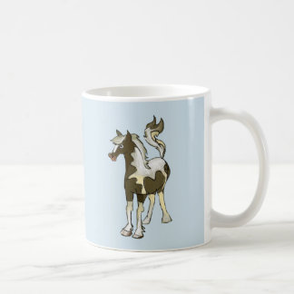 Goblet with whimsical pinto horse coffee mug