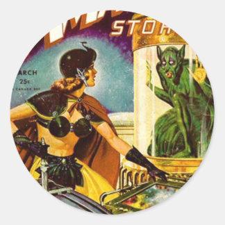 Goblin Behind Glass Classic Round Sticker