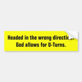 God Allows U-Turns Religious bumper sticker