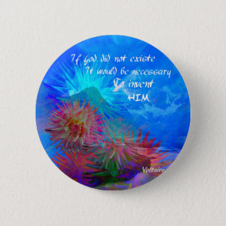 God and Voltaire in a blue sky. 2 Inch Round Button