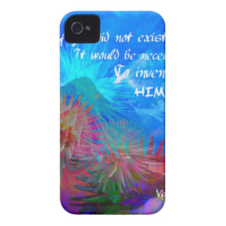 God and Voltaire in a blue sky. iPhone 4 Case-Mate Case