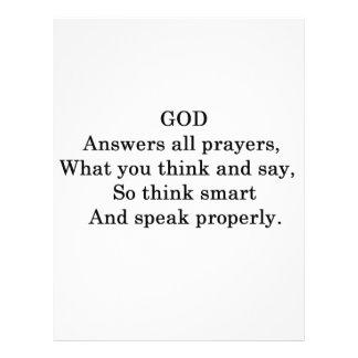 GOD ANSWERS ALL  PRAYERS CUSTOM LETTERHEAD