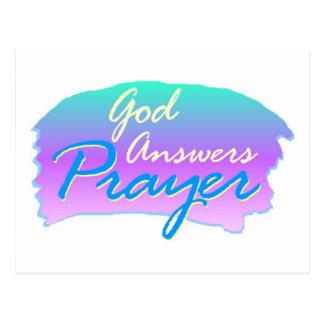 God answers prayer christian design postcard