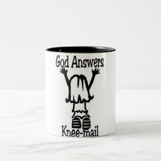 God Answers Two-Tone Coffee Mug