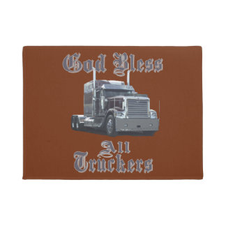 God Bless All Truckers Welcome Mat