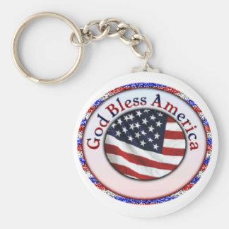 God Bless America 3 Keychain