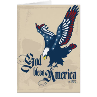God Bless America Blank Greeting Card in Tan