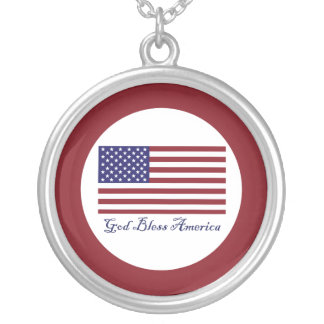 God Bless America Flag Silver Plated Necklace