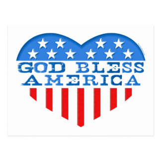 God Bless America Heart Postcard