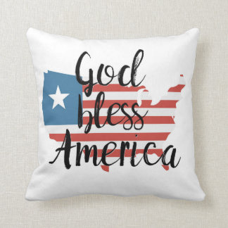 God Bless America Patriotic Flag Map Throw Pillow