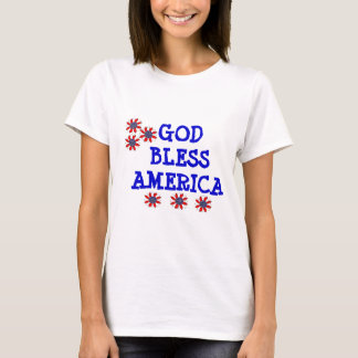 God Bless America Patriotic Flowers T-Shirt