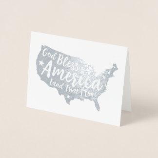 God Bless America Patriotic Foil Card
