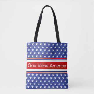 God Bless America Patriotic Pattern Tote Bag