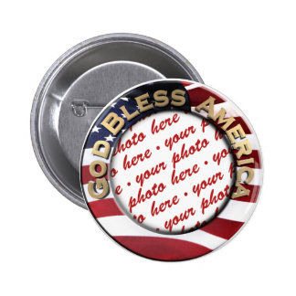 God Bless America Patriotic Photo Frame 2 Inch Round Button