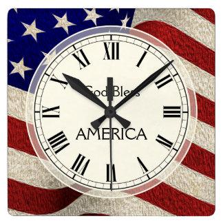 God Bless America Patriotic Vintage Flag Wallclocks