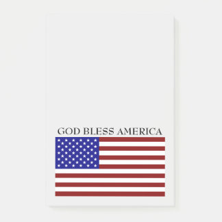 God Bless America Red White and Blue Flag Notes